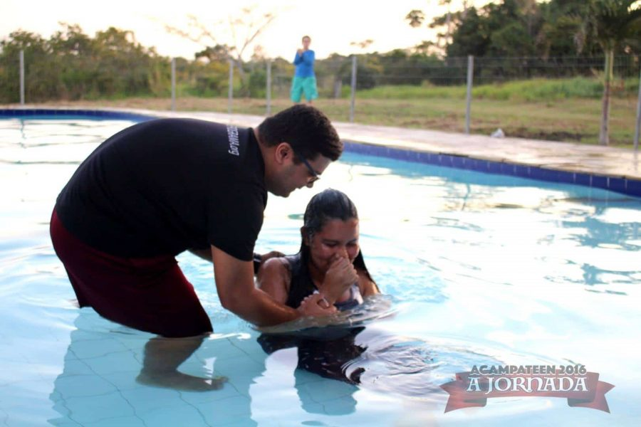 One of the baptisms at camp