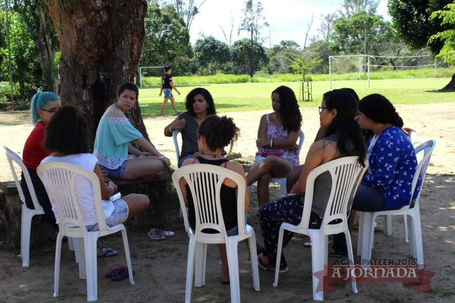 Small group Bible studies during the camp